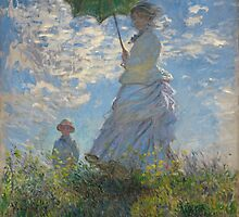 Claude Monet - Woman with a Parasol - Madame Monet and Her Son (1875) by famousartworks
