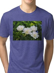 Soft White and Baby Pink Tulip Quartet - Enjoying the Beauty of Spring Tri-blend T-Shirt