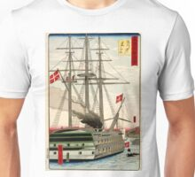 Hiroshige Utagawa - Black Ship Off Shinagawa - 1870 - Woodcut Unisex T-Shirt