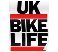 Run UK Bike Life DMC Style Moped Bikelife Motorcycle Gang Red & Black Logo Poster