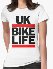 Run UK Bike Life DMC Style Moped Bikelife Motorcycle Gang Red & Black Logo Womens Fitted T-Shirt