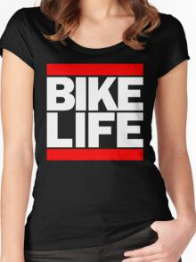 Run Bike Life DMC Style Moped Bikelife Motorcycle Gang Red & White Logo Women's Fitted Scoop T-Shirt