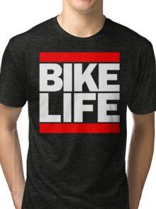 Run Bike Life DMC Style Moped Bikelife Motorcycle Gang Red & White Logo Tri-blend T-Shirt