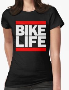 Run Bike Life DMC Style Moped Bikelife Motorcycle Gang Red & White Logo Womens Fitted T-Shirt