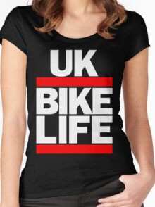 Run UK Bike Life DMC Style Moped Bikelife Motorcycle Gang Red & White Logo Women's Fitted Scoop T-Shirt
