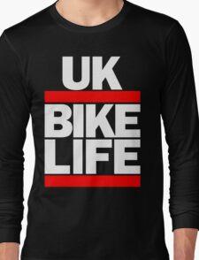 Run UK Bike Life DMC Style Moped Bikelife Motorcycle Gang Red & White Logo Long Sleeve T-Shirt