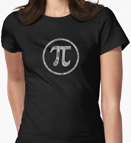 Pi Symbol, Floral Garden Pattern Womens Fitted T-Shirt