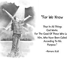 Bible Verse with Pencil Drawing: Romans 8:28 by Joyce Geleynse