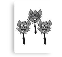 face head nerd geek hornbrille tie clever funny team 3 friends group pattern Canvas Print