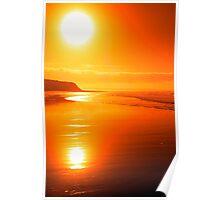 distant cliffs on a sunsey beach Poster