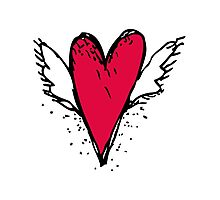 Red heart with wings Photographic Print