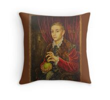Boy With Apple Throw Pillow