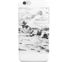 Three Boys on the Shore - from a Carbon Paper Trace Monotype after Winslow Homer. iPhone Case/Skin