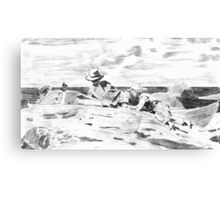 Three Boys on the Shore - from a Carbon Paper Trace Monotype after Winslow Homer. Canvas Print