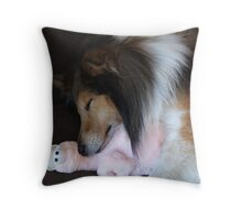 Shetland Sheepdog sleeping with his toy Throw Pillow