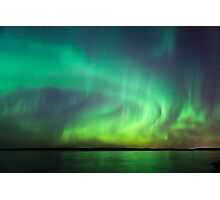 Northern lights over lake in Finland Photographic Print