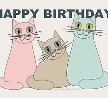 HAPPY BIRTHDAY by THREE CATS by Jean Gregory  Evans