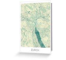 Zurich Map Blue Vintage Greeting Card