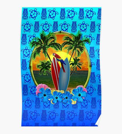 Blue Tiki Tropical Sunset Poster