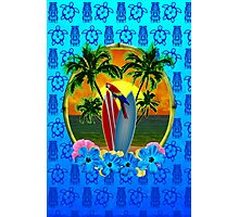Blue Tiki Tropical Sunset Photographic Print