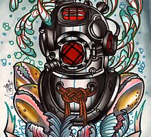 diver's helmet, deep sea diving old school tattoo art by resonanteye