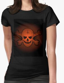 skull and crossbones. Jolly Roger on a beautiful black and orange background. Womens Fitted T-Shirt