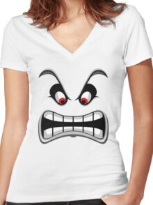 Thwomp face ! Women's Fitted V-Neck T-Shirt