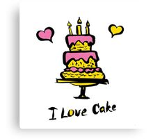 cake and the inscription I love cake Canvas Print
