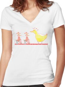 Ducks in a Row Women's Fitted V-Neck T-Shirt