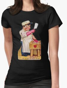 vintage valentine creepy butcher 2 Womens Fitted T-Shirt