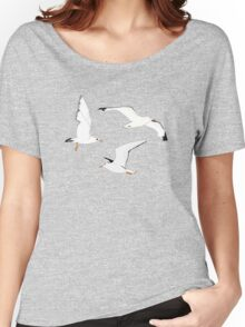 Seagulls Gathering at the Cricket Women's Relaxed Fit T-Shirt