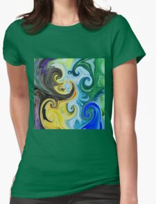 Abstract Curves Decorative Painting Womens Fitted T-Shirt