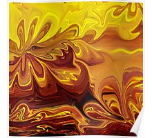 Yellow And Brown Flower Abstract  Poster
