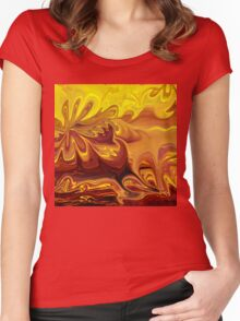 Yellow And Brown Flower Abstract  Women's Fitted Scoop T-Shirt