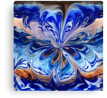 Blue And Abstract Flower  Canvas Print