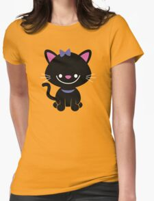 Black Kitty Womens Fitted T-Shirt