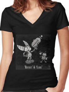 0033 - Retro Ratchet & Clank Women's Fitted V-Neck T-Shirt