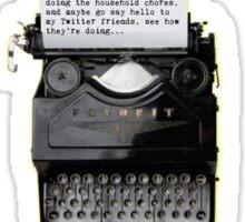 Monthly Writing Challenge (typewriter) - on black Sticker