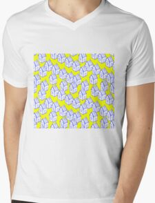 Houses motive on a yellow background Mens V-Neck T-Shirt