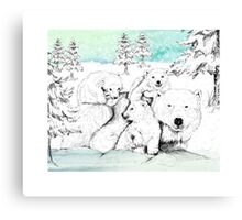 Polar bear family Canvas Print