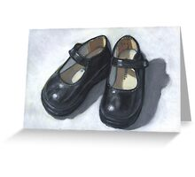 Little Black Shoes: Still Life Painting, Oil Pastel Greeting Card