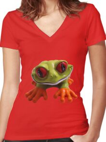 Cute Froggy 1 Women's Fitted V-Neck T-Shirt
