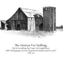 Bible Verse: Philippians, Do Not Be Anxious, Pencil Art: Barn by Joyce Geleynse