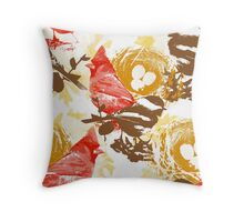 Cardinal Chickadee and Eggs in Nest Throw Pillow