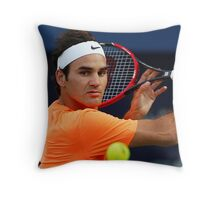 Roger Federer in action Throw Pillow