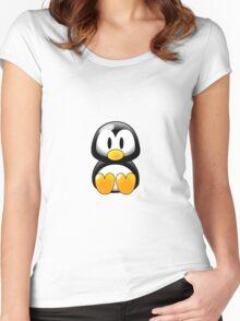 Cartoon Penguin Women's Fitted Scoop T-Shirt