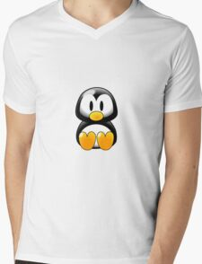 Cartoon Penguin Mens V-Neck T-Shirt