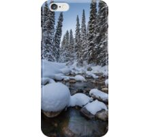 Snowy river with pine trees iPhone Case/Skin