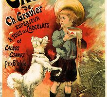 Vintage French hot chocolate advert, boy, white dog by aapshop