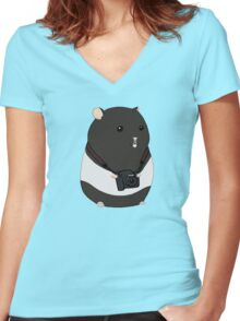 Hamster Photographer Women's Fitted V-Neck T-Shirt